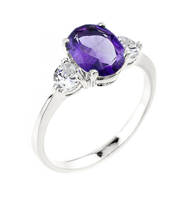 White Gold  Amethyst February Birthstone Ring