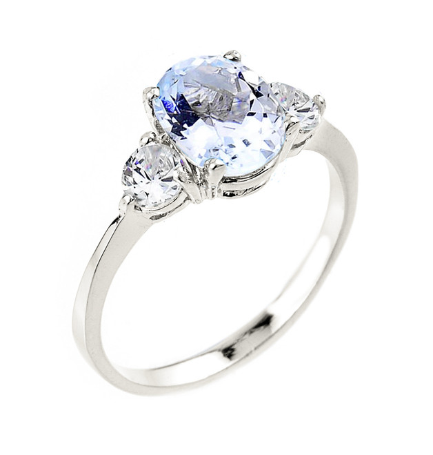 White Gold Genuine Aquamarine Gemstone Engagement Ring