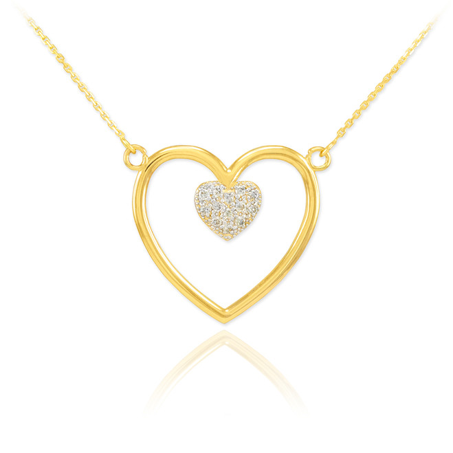 14K Polished Gold Open Heart Diamond Pave Heart Enclosure Necklace