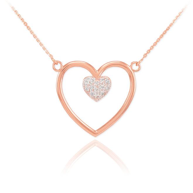 14K Rose Gold Open Heart Diamond Pave Heart Enclosure Necklace
