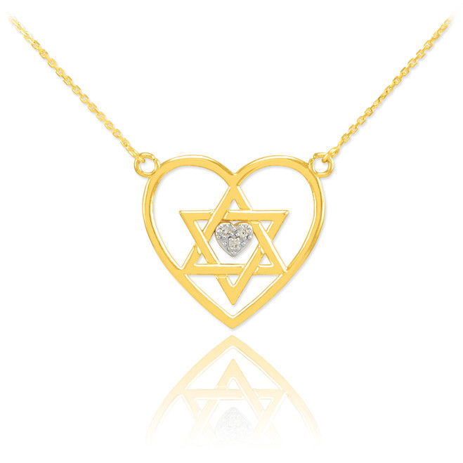 14K Gold Open Heart Star of David Diamond Pave Heart Necklace