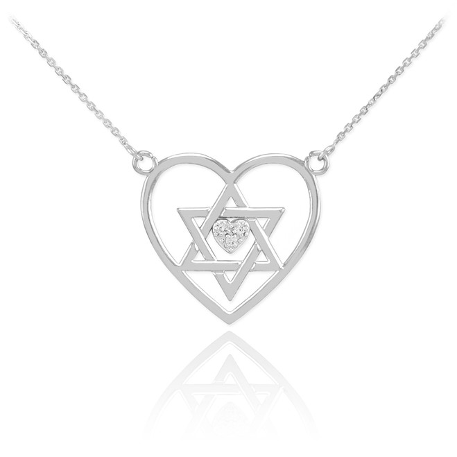 14K White Gold Open Heart Star of David Diamond Pave Heart Necklace