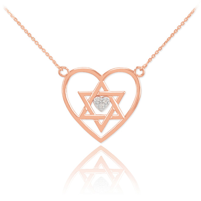 14K Rose Gold Open Heart Star of David Diamond Pave Heart Necklace