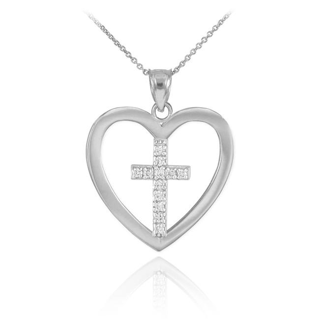 White Gold Open Heart Diamond Cross Pendant Necklace