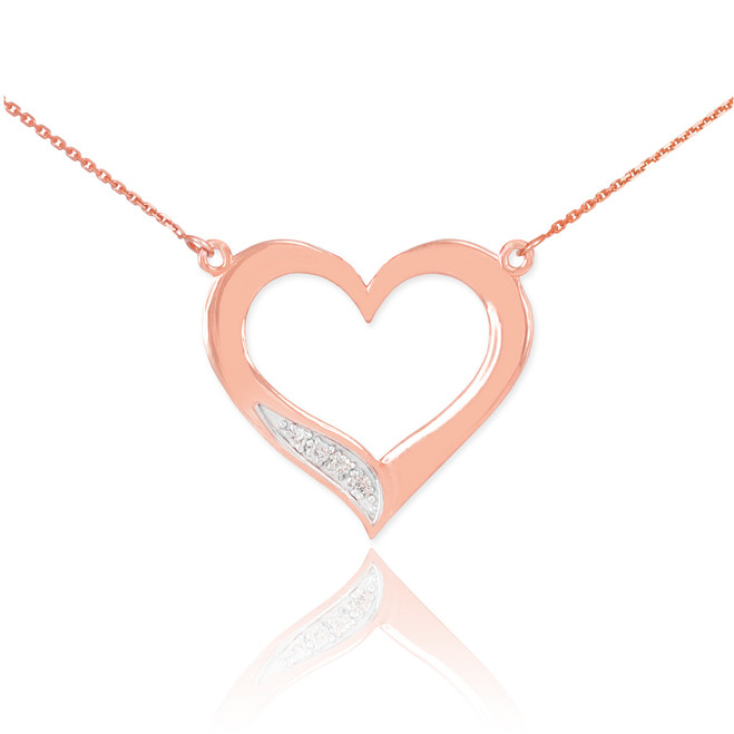 14K Rose Gold Open Heart Diamond Necklace