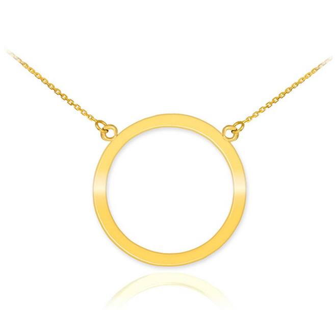 14K Polished Gold Circle Of Life Karma Necklace