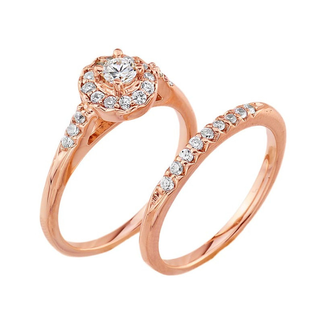 10k Rose Gold Diamond Halo Wedding Engagement Ring Set
