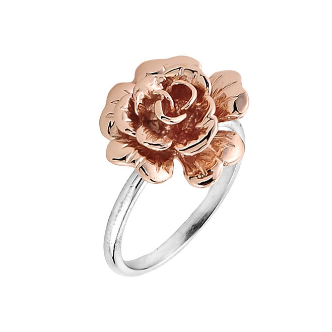 Two Tone Gold Rose Flower Ladies Ring
