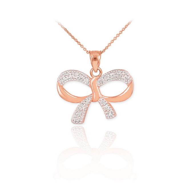 Polished Rose Gold Diamond Bow Pendant Necklace