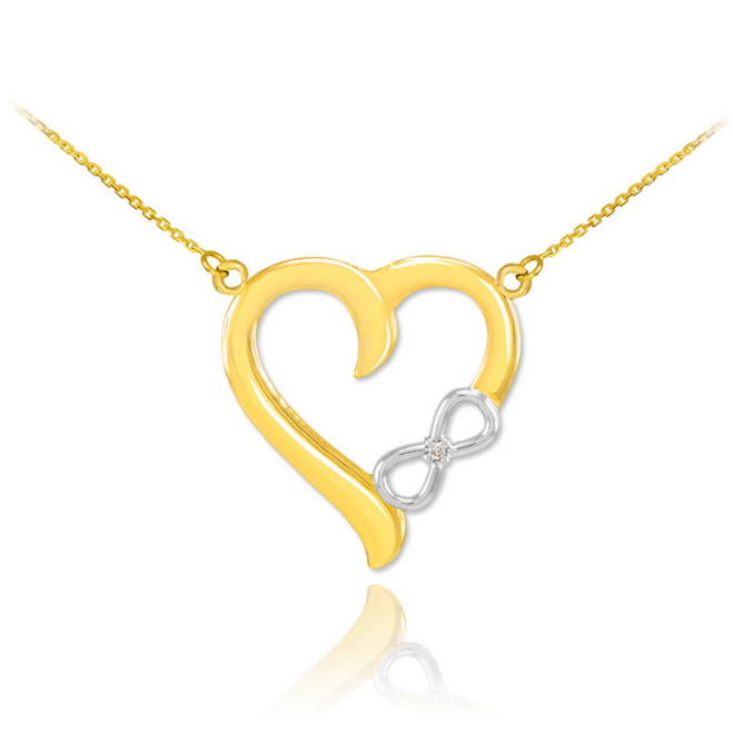 14K Two-Tone Gold Infinity Heart Diamond Necklace