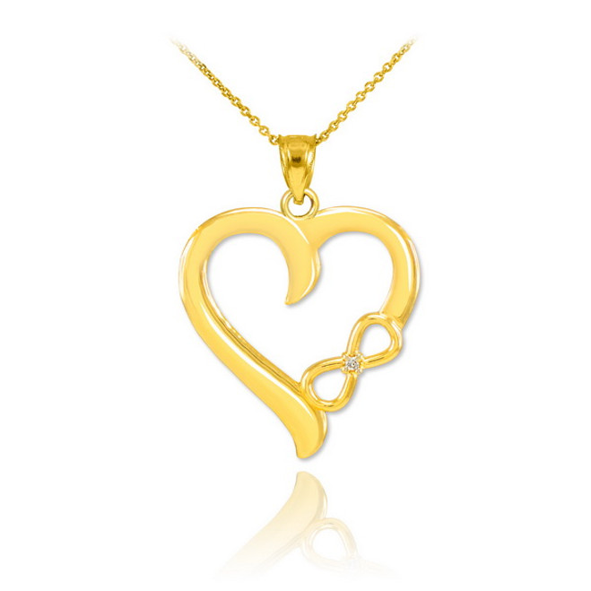 Gold Infinity Heart Diamond Pendant Necklace