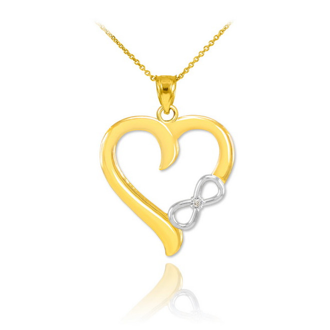 Two-Tone Gold Infinity Heart Diamond Pendant Necklace