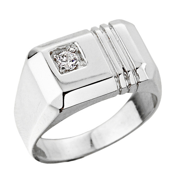 White Gold Men's Diamond Ring
