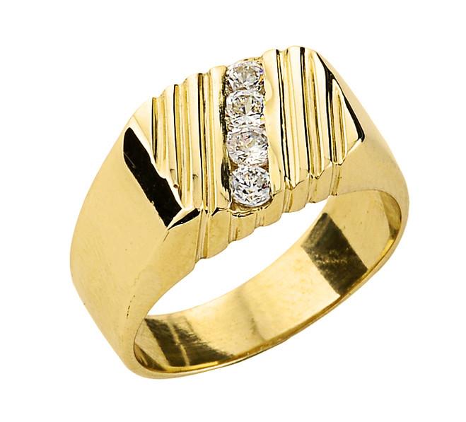 Yellow Gold Men's Diamond Channel Ring