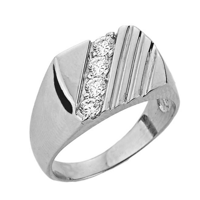 Channel Set Diamond Men's Ring in White Gold