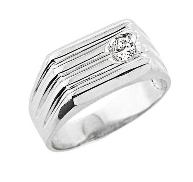Men's  White Gold Diamond Ring
