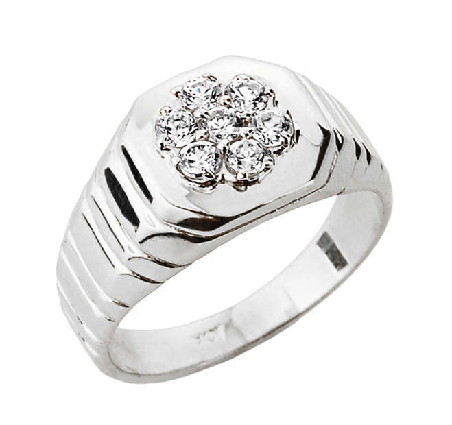 Diamond Men's Ring in White Gold