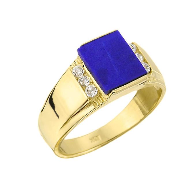 Men's Gold Lapis and Diamond Ring