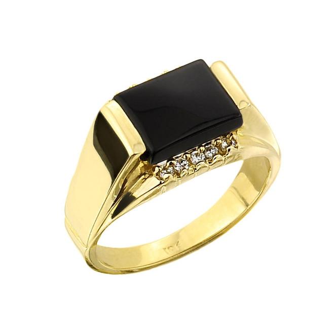 Gold Black Onyx and Diamond Men's Ring