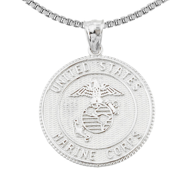 Sterling Silver US Marine Corps Pendant Necklace