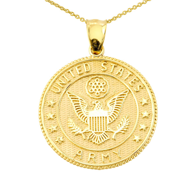 Solid Gold Two Sided US Army Coin Pendant Necklace