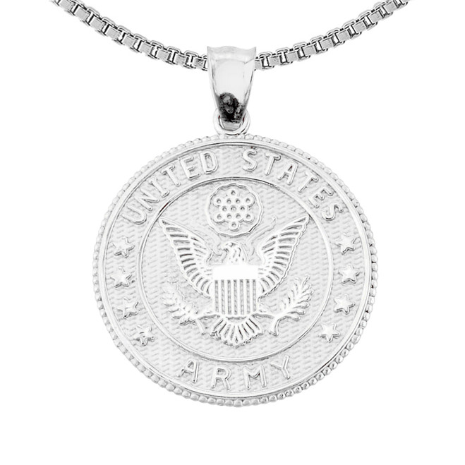 Sterling Silver Two Sided US Army  Coin Pendant Necklace