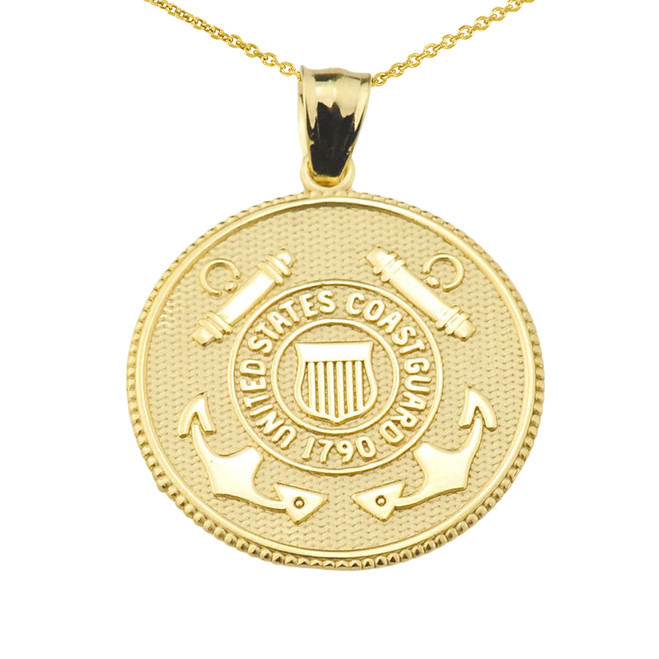 US Coast Guard Solid Gold Coin Pendant Necklace