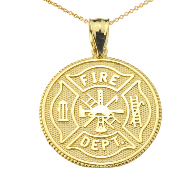 Solid Gold US Firefighter Maltese Cross Pendant Necklace
