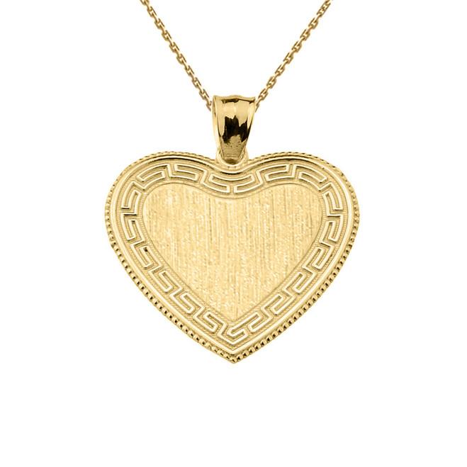 Greek Key Yellow Gold Engravable Heart Pendant