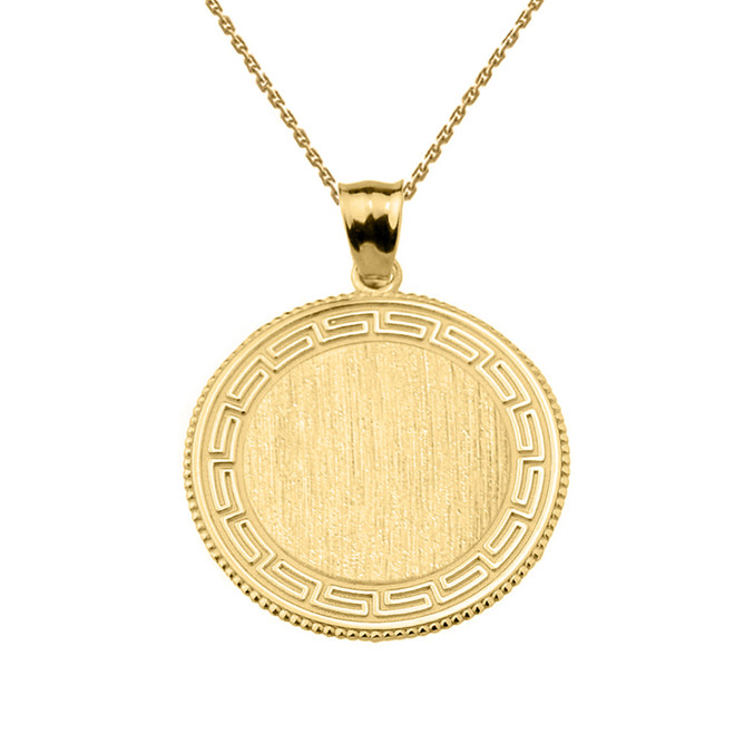 Greek Key Yellow Gold Engravable Round Pendant