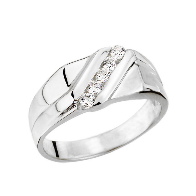 White Gold Channel Set Men's Diamond Ring