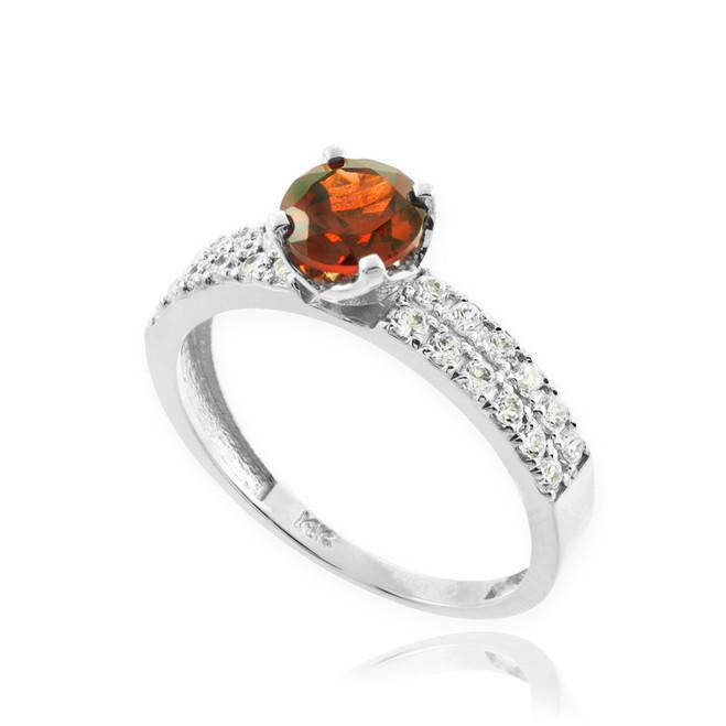 Garnet Gemstone White Gold Diamond Pave Engagement Ring