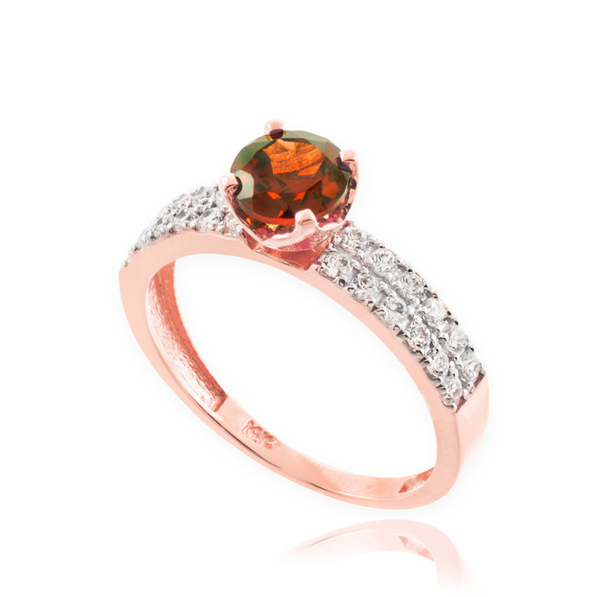 Garnet Gemstone Rose Gold Diamond Pave Engagement Ring