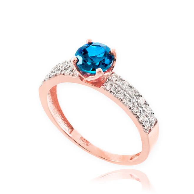 Blue Topaz Gemstone Rose Gold Diamond Pave Engagement Ring