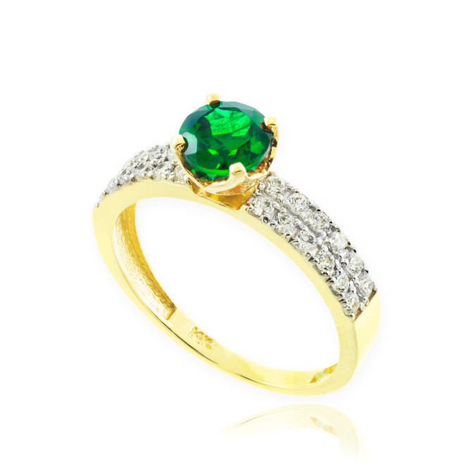 Genuine Emerald Gold Diamond Pave Engagement Ring