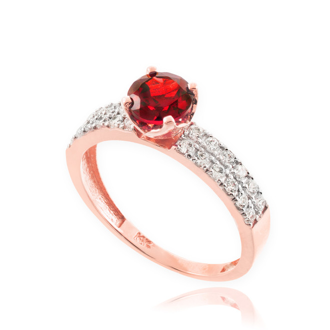 Genuine Ruby Rose Gold Diamond Pave Engagement Ring