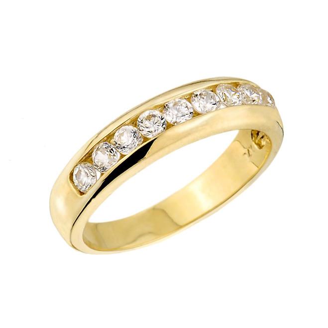 Solid Gold Unisex Diamond Anniversary Wedding Ring