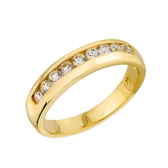 Yellow Gold Unisex Diamond Anniversary Wedding Band