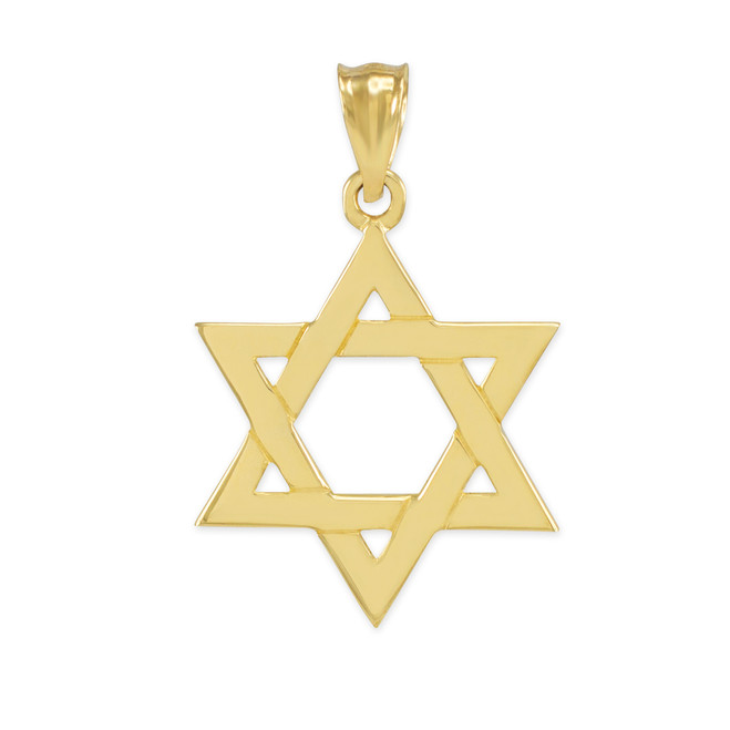 Solid Yellow Gold Jewish Star of David Pendant