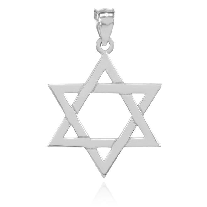 White Gold Jewish Star of David Pendant
