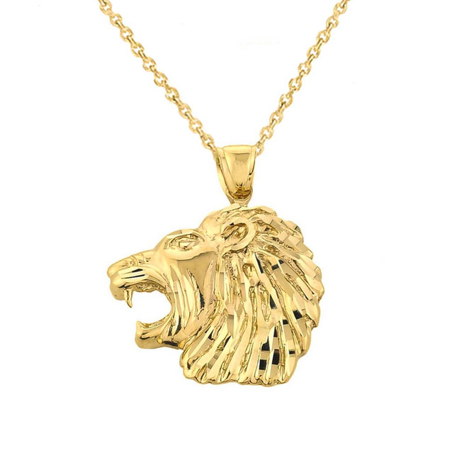 Solid Gold Diamond Cut Lion Head Pendant