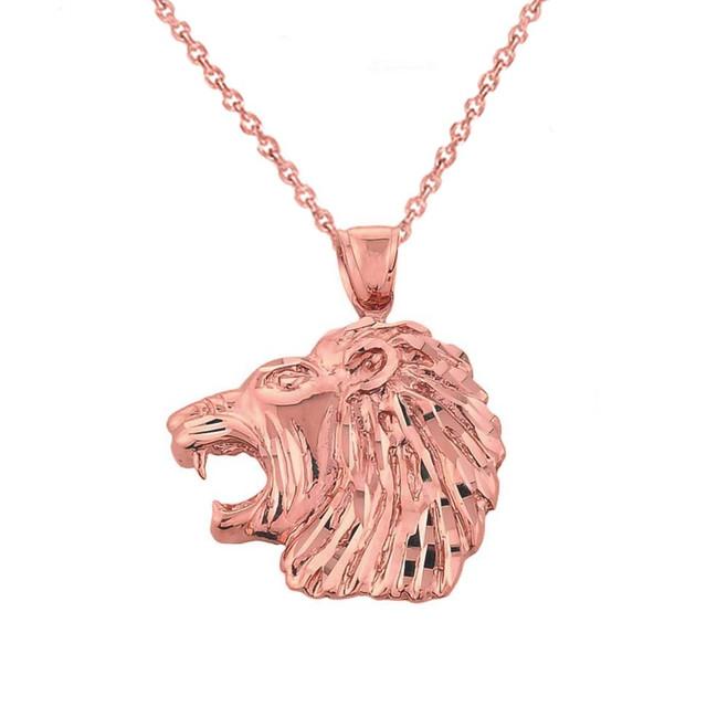Rose Gold Diamond Cut Lion Head Pendant