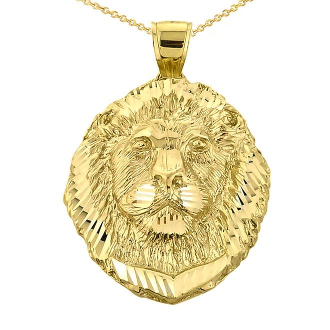 Diamond Cut Lion Head Pendant Necklace in Yellow Gold