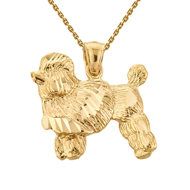 Yellow Gold Diamond Cut Poodle Pendant