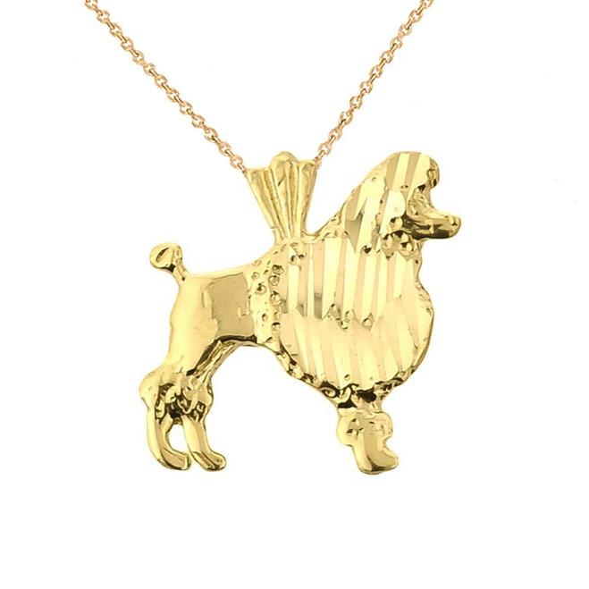 Gold Diamond Cut Poodle Charm Pendant