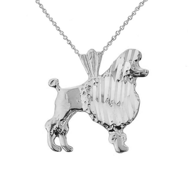 Whtie Gold Diamond Cut Poodle Charm Pendant