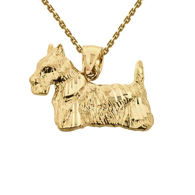 Solid Yellow Gold Diamond Cut Scottish Terrier Pendant