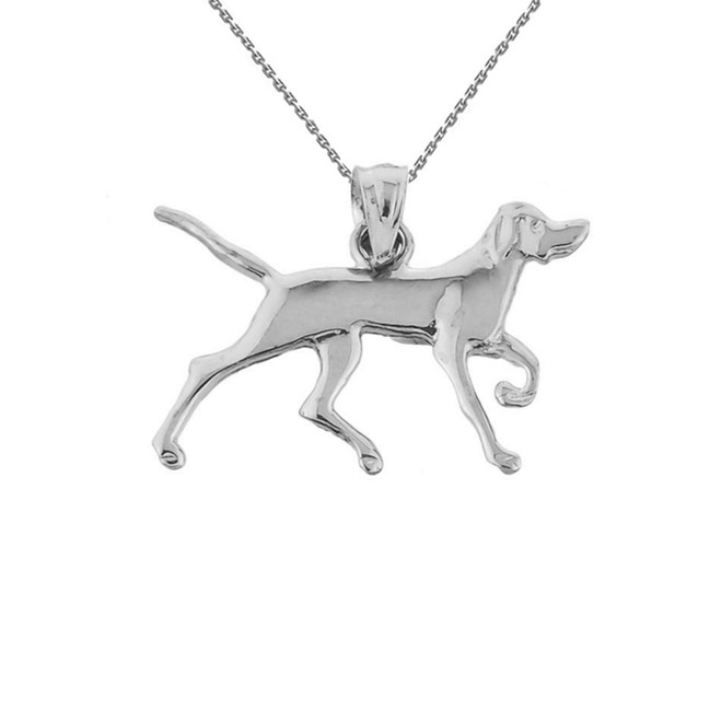 Sterling Silver German Short-Haired Pointer Pendant Necklace