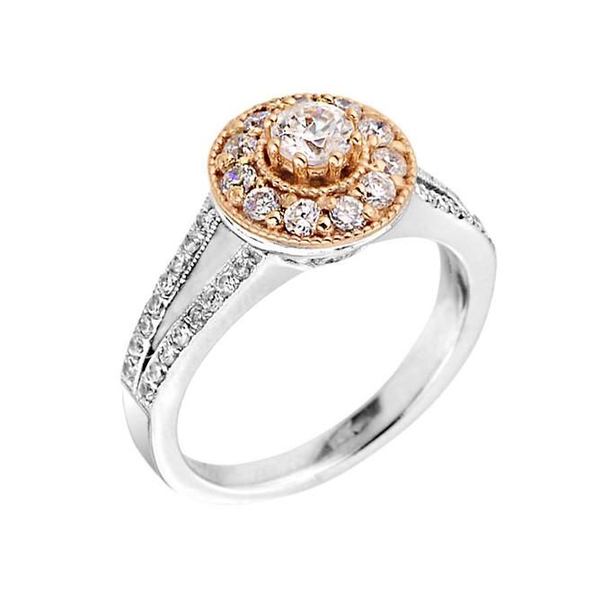 Two-tone Halo Diamond Engagement Proposal Ring