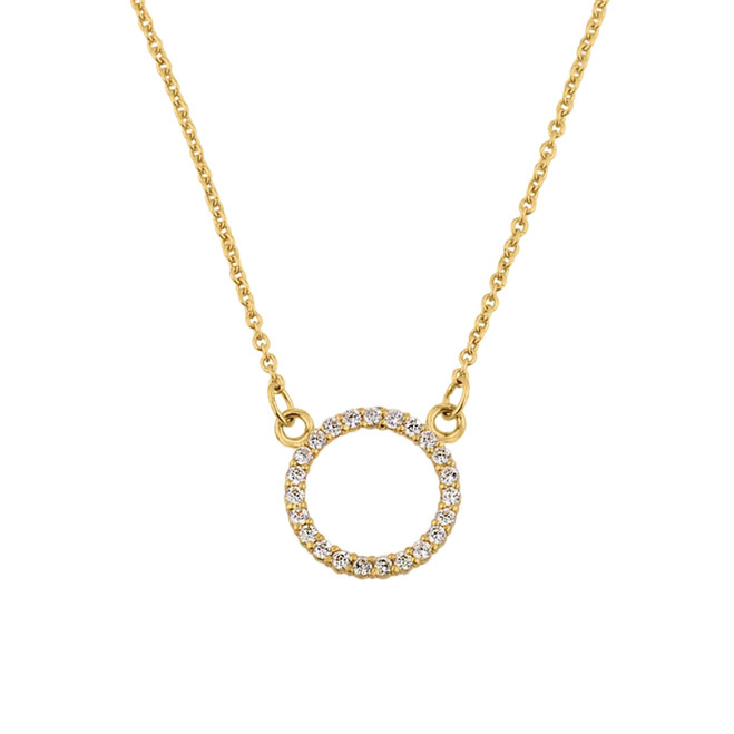 "14k Yellow Gold ""Circle of Love"" Diamond Necklace"